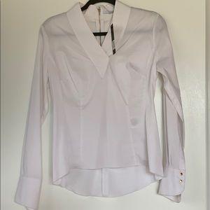 White vneck Tahari blouse, small NWT